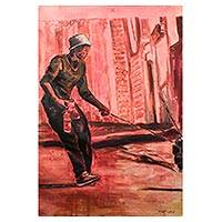 'To the Other Side' - Signed Impressionist Painting in Pink from Ghana