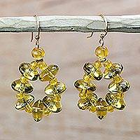 Recycled glass dangle earrings, 'Glowing Wreaths' - Gold-Tone Recycled Glass Dangle Earrings from Ghana