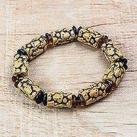 Recycled plastic beaded stretch bracelet, 'Eco Earth' - Brown Recycled Plastic Beaded Stretch Bracelet from Ghana
