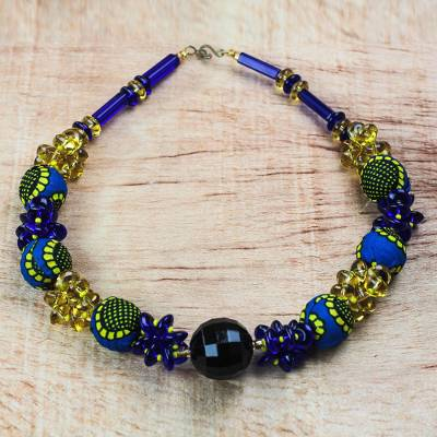 896520783f4 Recycled Plastic and Cotton Beaded Necklace from Ghana - African ...