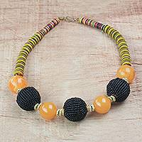 Recycled plastic beaded necklace, 'Eco Adepa' - Recycled Plastic Beaded Necklace from Ghana