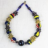 Recycled plastic beaded necklace, 'Eternally Beautiful' - Recycled Plastic and Cotton Necklace from Ghana