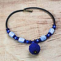 Recycled plastic beaded pendant necklace, 'Blue Bauble' - Recycled Plastic Beaded Pendant Necklace in Blue from Ghana