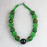 Recycled plastic beaded necklace, 'Green Goodness' - Recycled Plastic and Cotton Beaded Necklace in Green