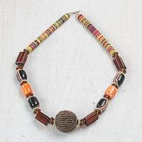 Recycled plastic beaded pendant necklace, 'Anytime Beauty' - Recycled Plastic Beaded Pendant Necklace in Brown from Ghana