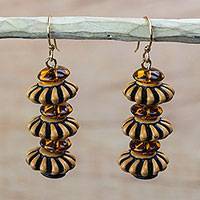 Recycled plastic dangle earrings, 'Great Elegance' - Brown Recycled Plastic Dangle Earrings from Ghana