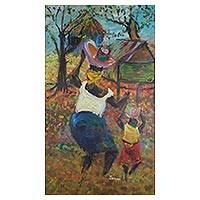 'Granny Up Bring' - Signed Impressionist Painting of a Ghanaian Grandma