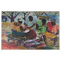 'Palm Wine Drinkers' - Signed Impressionist Painting of a Community Meeting