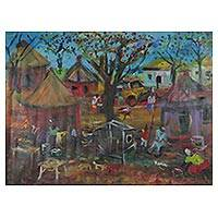 'Village Trade' - Signed Impressionist Painting of a Market Village from Ghana