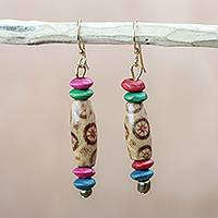 Wood and recycled plastic dangle earrings, 'Playful Cheer' - Recycled Bead and Wood Disc Colorful Dangle Earrings