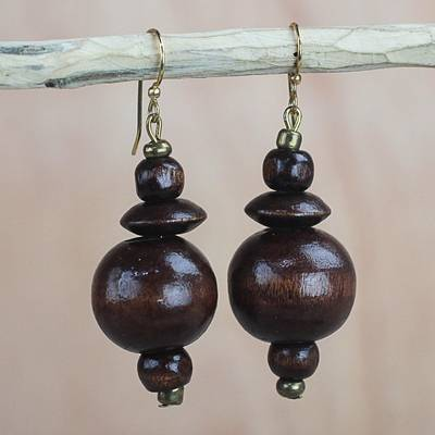 Brown Wood Disc And Round Bead Dangle Earrings From Ghana