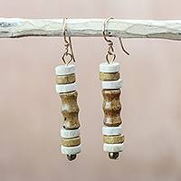 Wood beaded dangle earrings, 'Gazelle' - Beige and Cream Wood Cylindrical Bead Dangle Earrings