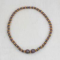Wood beaded necklace, 'Remember Love' - Sese Wood Alternating Beaded Necklace from Ghana