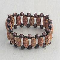 Wood beaded stretch bracelet, 'Darling Style' - Sese Wood Beaded Stretch Bracelet Crafted in Ghana