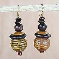 Wood and recycled plastic dangle earrings, 'Patient Soul' - Sese Wood and Recycled Plastic Beaded Dangle Earrings