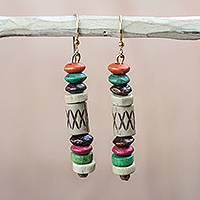 Wood and recycled plastic dangle earrings, 'Eco Beauty' - Colorful Wood and Recycled Plastic Dangle Earrings