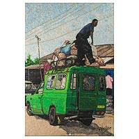 Cotton wall art, 'Transportation' - Transportation-Themed Cotton Wall Art from Ghana