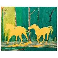 Cotton wall art, 'Hope' - Horse-Themed Cotton Wall Art from Ghana