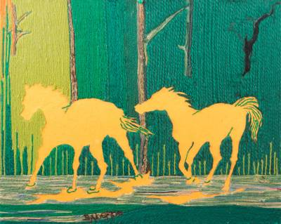 Horse-Themed Cotton Wall Art from Ghana