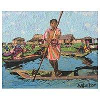 Cotton wall art, 'Ganvie Village Boy' - Cotton Wall Art of a Village Boy from Ghana