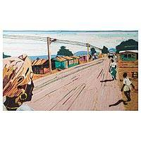 Cotton wall art, 'Somanya Street' - Quotidian Scene Cotton Wall Art from Ghana