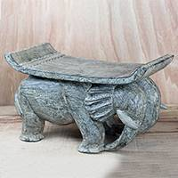 Wood decorative stool, 'Elephant Burden' - Elephant-Themed Sese Wood Decorative Stool from Ghana