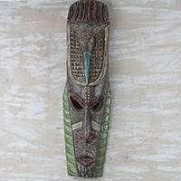 African wood mask, 'Bird Friend' - Handmade Sese Wood Wall Mask from Ghana