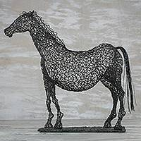 Steel sculpture, 'Modern Horse' - Steel Wire Sculpture of a Horse Crafted in Ghana