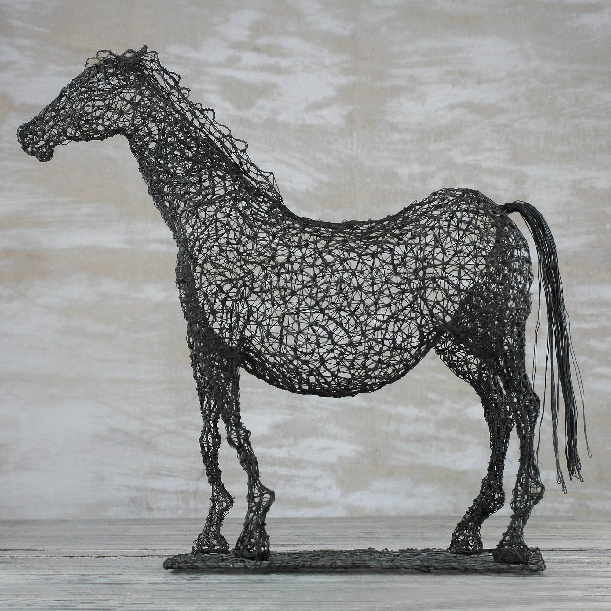 Steel Wire Sculpture Of A Horse Crafted In Ghana Modern Horse Novica