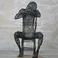Steel sculpture, 'Tomorrow Never Comes' - Steel Wire Sculpture of a Man Sitting from Ghana