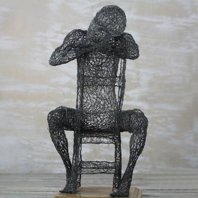 Super Steel Wire Sculpture Of A Man Sitting From Ghana Tomorrow Never Comes Complete Home Design Collection Barbaintelli Responsecom