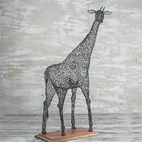 Steel sculpture, 'Watchful Giraffe' - Steel Wire Giraffe Sculpture Crafted in Ghana