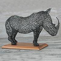 Steel sculpture, 'Modern Rhino' - Handmade Steel Wire Rhino Sculpture from Ghana