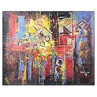 'Mother's Love' - Signed Mother and Child Abstract Painting from Ghana