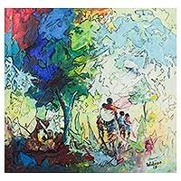 'Homeward Journey' - Signed Expressionist Painting of People in the Woods