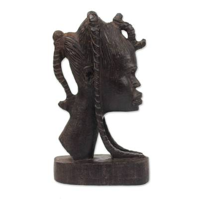 Ebony wood sculpture, 'Head of a Girl' - Signed Ebony Wood Sculpture of a Girl from Ghana