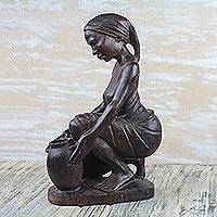 Ebony wood sculpture, 'Collecting Water' - Signed Ebony Wood Sculpture of a Woman Collecting Water