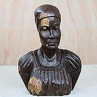 Ebony wood sculpture, 'Bust of a Native Woman I' - Signed Ebony Wood Sculpture of a Native Woman from Ghana