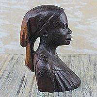 Ebony wood sculpture, 'Bust of a Native Woman II'
