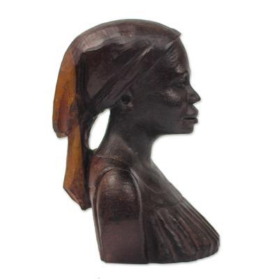 Ebony wood sculpture, 'Bust of a Native Woman II' - Signed Ebony Wood Sculpture of a Woman from Ghana