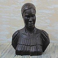 Ebony wood sculpture, 'Bust of a Woman' - Signed Ebony Wood Bust Sculpture of a Woman from Ghana