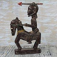 Wood statuette, 'Horseback Warrior' - Brown and Cream Horseback Warrior Wood Statuette from Ghana