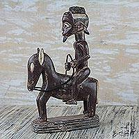 Wood statuette, 'Horseman' - Brown and Cream Man Astride Horse Wood Statuette from Ghana