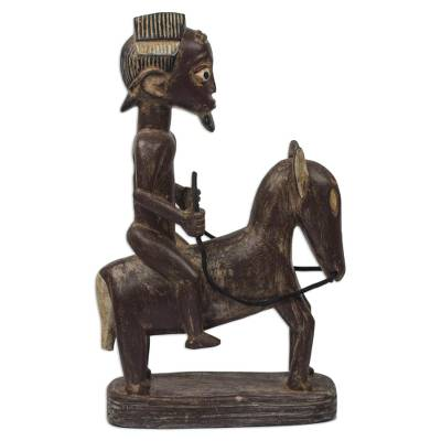 Brown and Cream Man Astride Horse Wood Sculpture from Ghana