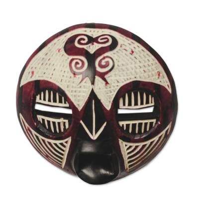 Adinkra Sankofa African Wood Mask from Ghana