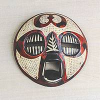 African wood mask, 'Adinkra Hope' - Adinkra-Themed African Wood Mask in Red from Ghana