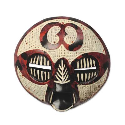 Adinkra-Themed African Wood Mask in Red from Ghana