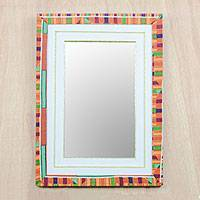 Cotton and wood wall mirror, 'Kente Reflection' - Kente Motif Cotton Wall Mirror from Ghana