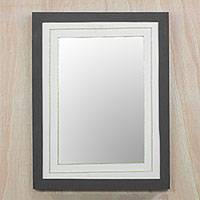 Paper mirror, 'Modern Reflection' - Handmade Modern Paper Wall Mirror from Ghana