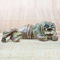 Wood sculpture, 'Lying Ntambwa' - Rustic Sese Wood Sculpture of a Lion from Ghana